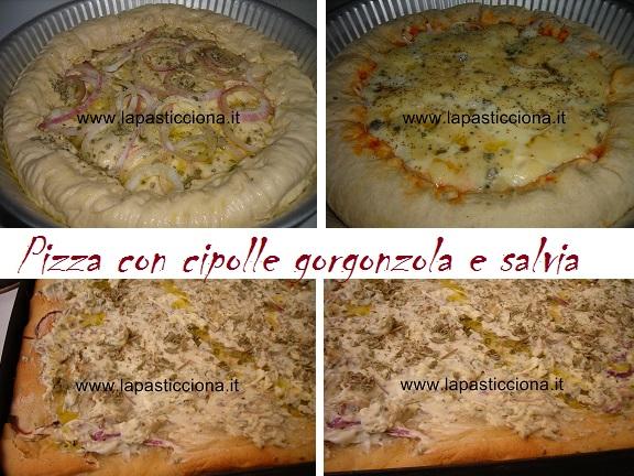 Pizza con cipolle gorgonzola e salvia