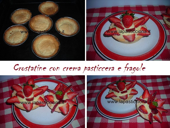 Crostatine con crema pasticcera e fragole