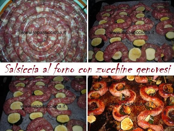 Salsiccia al forno con zucchine genovesi