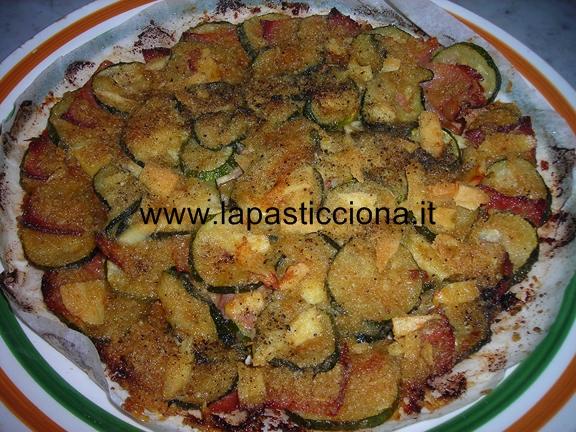 Zucchine gratinate con prosciutto crudo