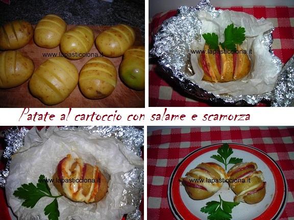 Patate al cartoccio con salame e scamorza