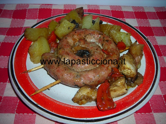 Salsiccia con verdure al forno 4