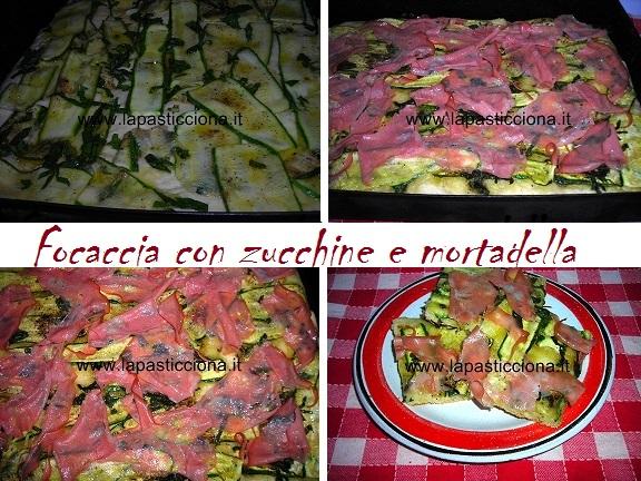 Focaccia con zucchine e mortadella