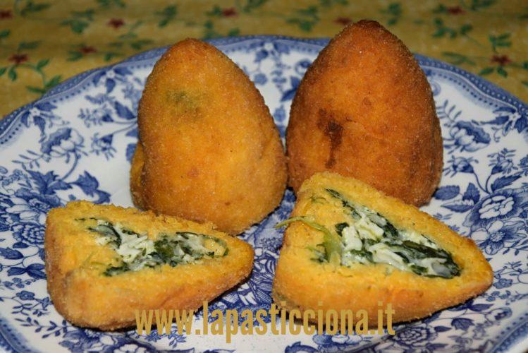 Arancine vegetariane con spinaci