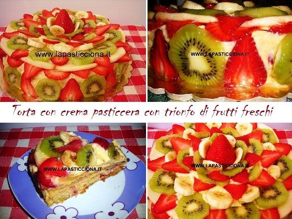 Torta con crema pasticcera con trionfo di frutti freschi