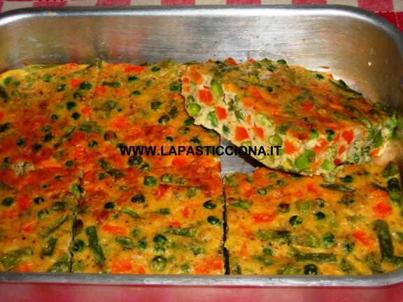 Frittata di verdure e caciocavallo al forno