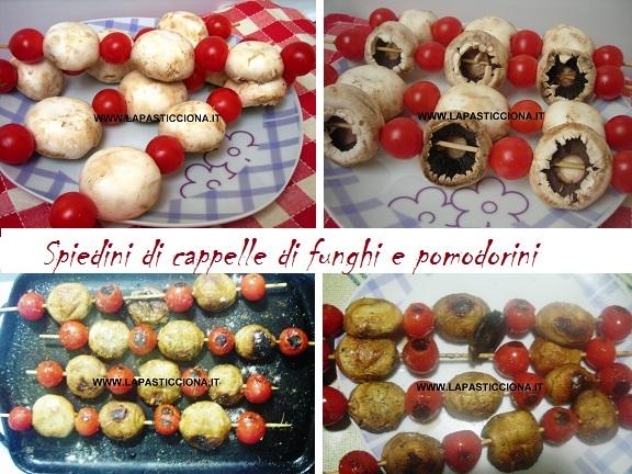 Spiedini di cappelle di funghi e pomodorini