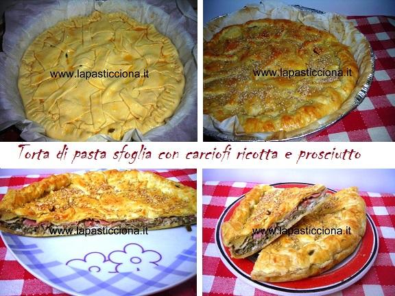 Torta di pasta sfoglia con carciofi ricotta e prosciutto 8