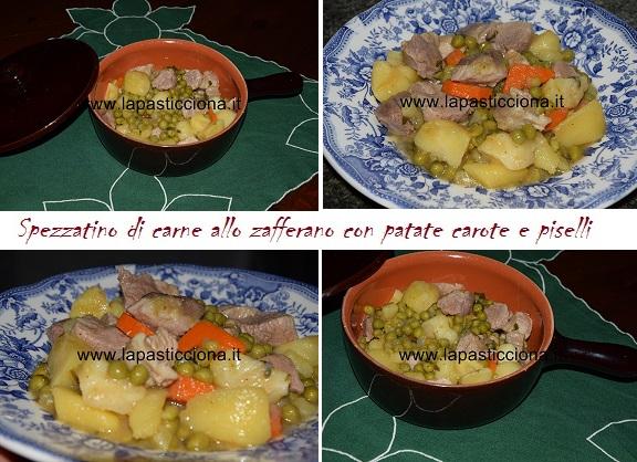Spezzatino di carne allo zafferano con patate carote e piselli 8