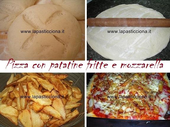 Pizza con patatine fritte e mozzarella