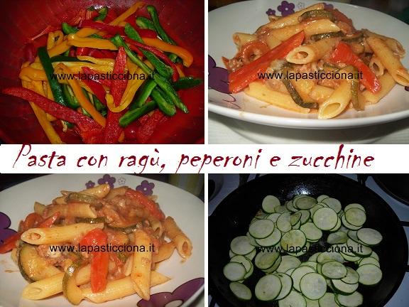 Pasta con ragù, peperoni e zucchine 3